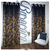 Baroque Floral Pattern Navy PREMIUM Curtain Panel. Available on 12 Fabrics. Made to Order. 100118