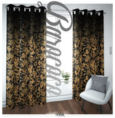 Baroque Gold Floral Pattern PREMIUM Curtain Panel. Available on 12 Fabrics. Made to Order. Navy Blue. 100122