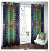 Ornate Gold Art Nouveau PREMIUM Curtain Panel. Available on 12 Fabrics. Made to Order. 100148