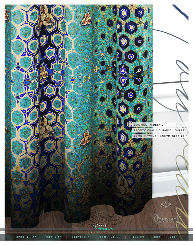 Art Nouveau Print PREMIUM Curtain Panel. Available on 12 Fabrics. Made to Order. 100149