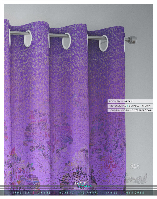 Lilac Damask Pattern PREMIUM Curtain Panel. Available on 12 Fabrics, Heavy & Sheer, Made to Order. 100189