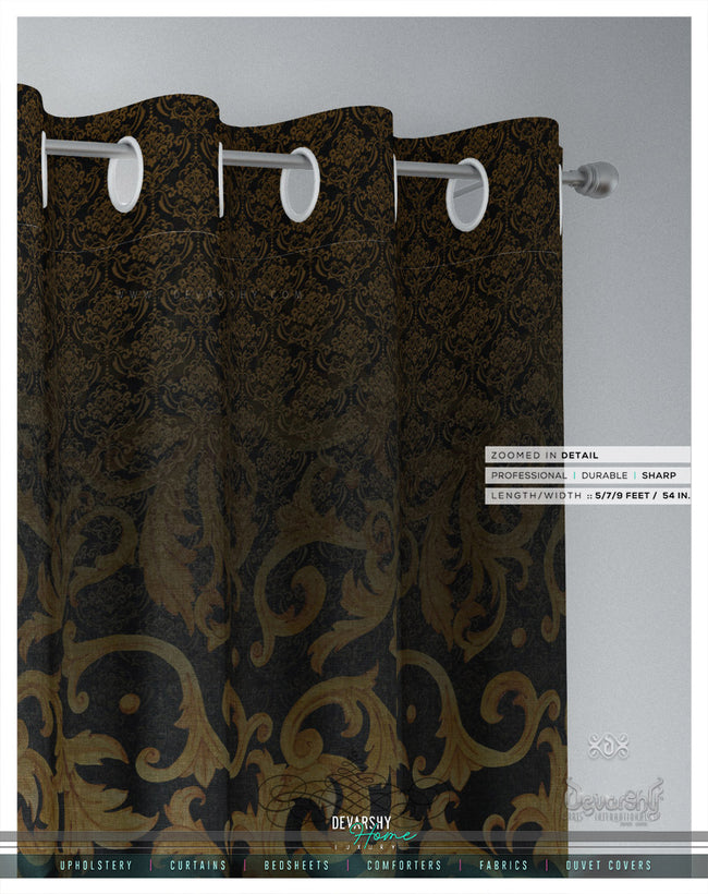 Black Baroque Gold Pattern PREMIUM Curtain Panel, Available on 12 Fabrics, Heavy & Sheer. Made to Order. 100192