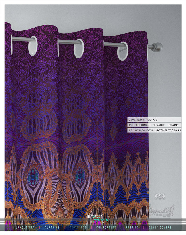 Vibrant Fuchsia Ornate PREMIUM Curtain Panel, Available on 12 Fabrics, Made to Order. 100213
