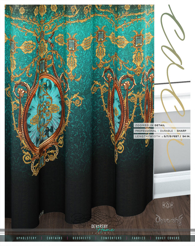 Decorous Baroque Green PREMIUM Curtain Panel. Available on 12 Fabrics. Made to Order. 100237