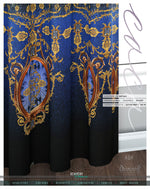 Decorous Blue Baroque PREMIUM Curtain Panel. Available on 12 Fabrics. Heavy & Sheer. 100239