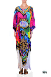 BAROCOCO Vibrant Ornate Painting Devarshy Embellished Long Kaftan - 1100A