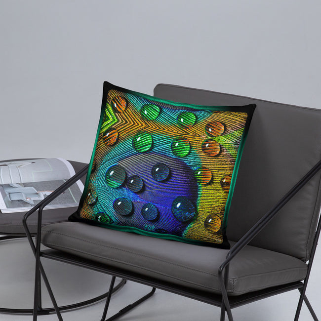 Devarshy NATURE MORTE Peacock Feather Printed Square Throw Pillow PF - 110C5