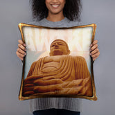 Devarshy NIRVANA ACHIEVED Buddha Statue Printed Square Throw Pillow  PF - 110C7