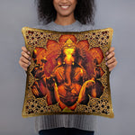 Devarshy Indica Magnifica Golden Ganesha Printed  Square Throw Pillow PF - 111C2