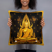 Devarshy NIRVANA ACHIEVED Golden Statue Printed Square Throw Pillow PF - 111C3