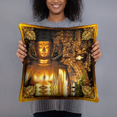 Devarshy NIRVANA ACHIEVED Golden Buddha Printed Square Throw Pillow PF - 111C6