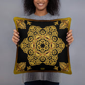 Devarshy Aurum 79 Ornamental Gold Printed Square Throw Pillow PF - 111C8