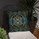 Devarshy AURUM 79 Golden Spirals Printed Square Throw Pillow 18 Inch PF - 112C2