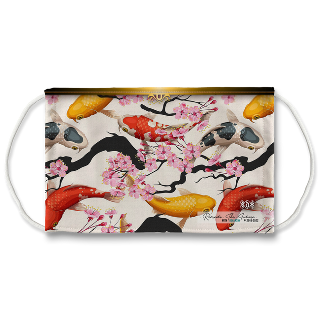 Cherry Blossom Floral And Koi Fish With Filter And Nose Wires - 11175