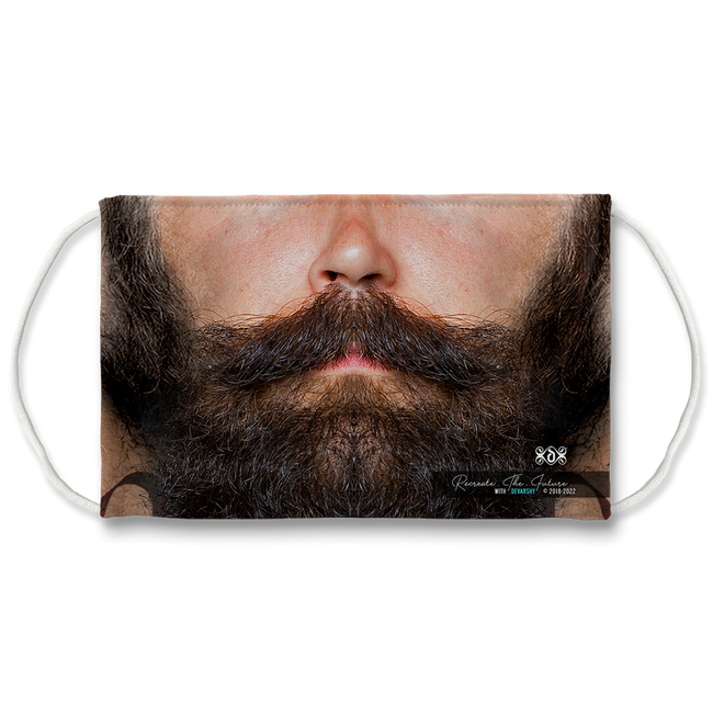 Black Beard Realistic Face Mask With Filter And Nose Wires - 11184