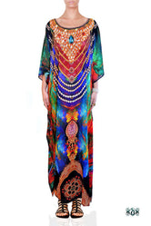 NATURE MORTE Colorful Feathers Devarshy Long Embellished Kaftan - 002