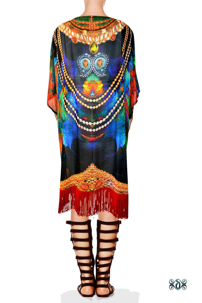 NATURE MORTE Colourful feathers Devarshy Fringes Short Kimono Jacket - 002
