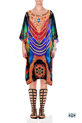 NATURE MORTE Colourful Feathers Pure Silk Short Devarshy Kaftan - 002