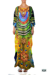 NATURE MORTE Royal Peacock Crystals Embellished Long Devarshy Kaftan - 003