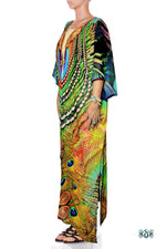 NATURE MORTE Royal Peacock Design Devarshy Long Kimono Jacket - 003