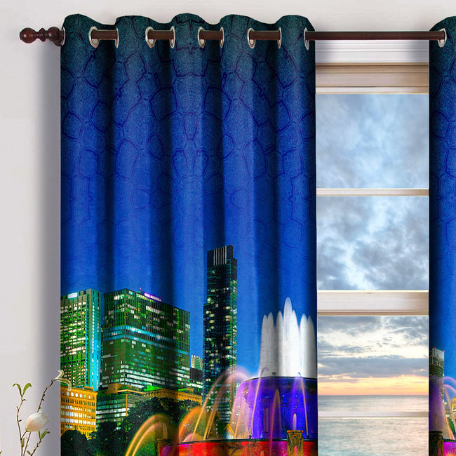 Devarshy Digital print Cityscape Design Premium Eyelets Home Curtains Set , Home Decor - DEVARSHY, DEVARSHY  - 3