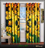 Devarshy Designer Yellow Florals Digital print Whiteout Room Curtain Set , Home Decor - DEVARSHY, DEVARSHY  - 1