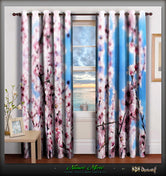 NATURE MORTE Cherry Blossoms Devarshy Luxury Home Room Curtains Set - 1048