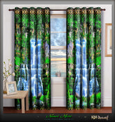 NATURE MORTE Gushing Waterfall Devarshy Premium Blackout Curtain Set - 1070
