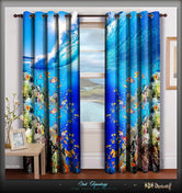 Devarshy Blue Underwater Digital Print Luxury Home Decor Designer Door Curtain Set