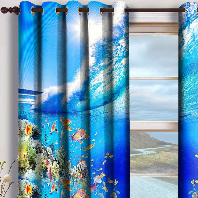 Devarshy Designer Digital Print Blue Underwater Home Decor Curtain Set , Home Decor - DEVARSHY, DEVARSHY  - 2