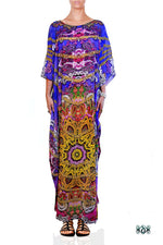AURUM 79 Purple Bohemian Print Devarshy Crystals Embellished Long Kaftan