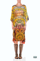 Aurum 79 Yellow Bohemian Florals Devarshy Crystals Embellished Short Kaftan