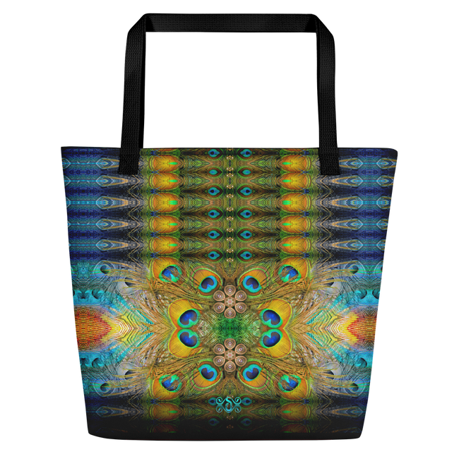 NATURE MORTE Royal Peacock Devarshy Printed Canvas Beach Bag PF - 003