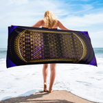 Royal Purple Printed Cotton Towel, Printed Beach Towel, Devarshy Bath, PF - 1003B
