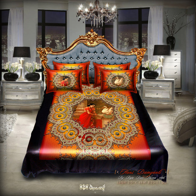 Digital print Hans Damyanti Devarshy Designer kingsize Bed sheet Set , Home Decor - DEVARSHY, DEVARSHY  - 3