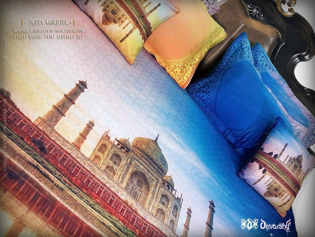 Devarshy Luxurious Digital print Taj Mahal King size Double Bed sheet Set , Home Decor - DEVARSHY, DEVARSHY  - 2
