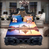 Devarshy Luxurious Taj Mahal Digital Print King size Designer Bedsheet Set