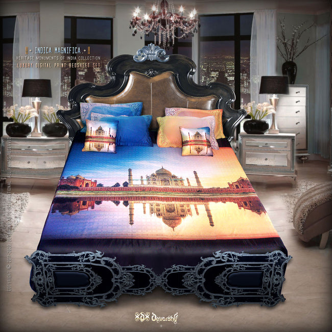 Devarshy Luxurious Digital print Taj Mahal King size Double Bed sheet Set , Home Decor - DEVARSHY, DEVARSHY  - 1