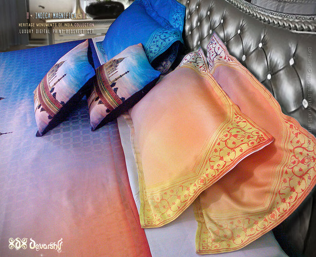 Devarshy Luxurious Digital print Taj Mahal King size Double Bed sheet Set , Home Decor - DEVARSHY, DEVARSHY  - 3