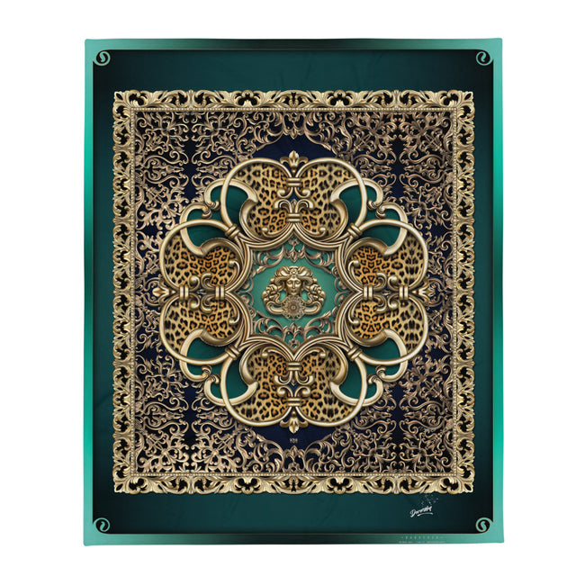 Baroque Nouveau Medusa Printed Throw Blanket, Soft Fleece Blanket, Devarshy Home, PF - 004