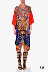INDICA MAGNIFICA Blue Orange Royal Adorned Devarshy Pure Silk Short Kaftan
