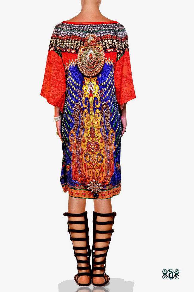 Devarshy Designer Regal Decorative Short Embellished Pure Silk Kaftan - Blue Orange , Apparel - DEVARSHY, DEVARSHY  - 3