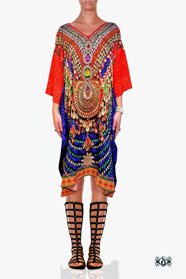 Devarshy Designer Regal Decorative Short Embellished Pure Silk Kaftan - Blue Orange , Apparel - DEVARSHY, DEVARSHY  - 1