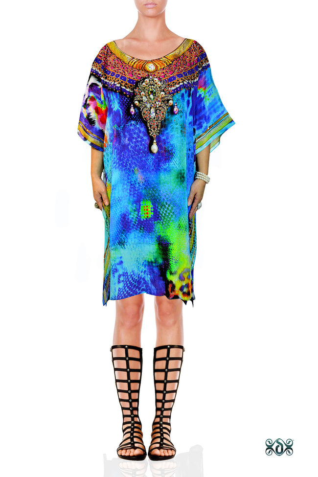NATURE MORTE Cobra Leopard Devarshy Pure Silk Short Embellished Kaftan - 0013