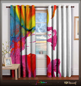 Devarshy Colorful Modern Art Painting Digital print Luxury Designer Home Door Curtain Set