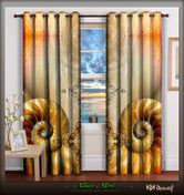 LA Futuristic Grandiose Beige Devarshy Home Furnishings Door Curtain Set - 1018A