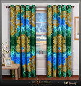 BAROCOCO Ornate SeaGreen Devarshy Heavyweight Eyelets Door Curtain - 1025B