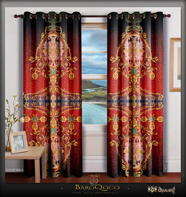 Devarshy Designer Scarlet Ornate Digital Print Luxury Room Home Curtain Panel , Home Decor - DEVARSHY, DEVARSHY  - 1