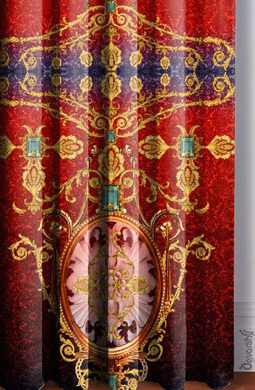 Devarshy Designer Scarlet Ornate Digital Print Luxury Room Home Curtain Panel , Home Decor - DEVARSHY, DEVARSHY  - 4