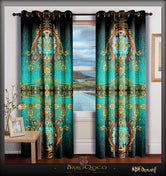 BAROCOCO Royal Turquoise Devarshy Premium Whiteout Door Curtain - 1028B